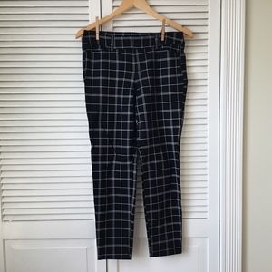 Old Navy Mid-Rise Black and White Plaid Trousers